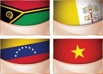 Flags illustration, Vanuatu, Vatican City, Venezuela, Vietnam