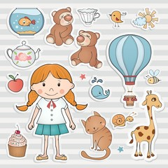 Little girl and cute animals. Vector collection.