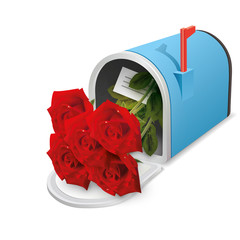 Beautiful blue open mailbox with flowers inside. Vector icon.