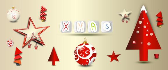 weihnachten symbole banner rot
