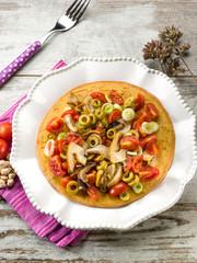 chickpeas focaccia with mushroom tomatoes olives
