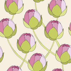 Seamless pattern with hand drawn water lily.