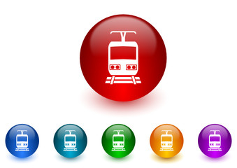 railway colorful vector icons set