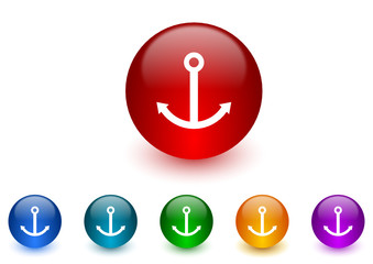 anchor colorful vector icons set