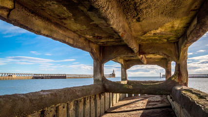 Blyth Harbour viewed through north pier foundations