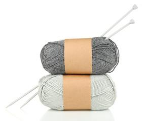 Knitting yarn with knitting needles, isolated on white