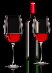 Zwei Rotweingläser mit Rotweinflasche auf scharzen Hintergrund,
