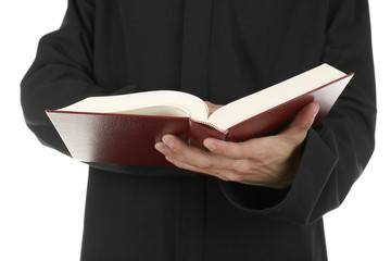 Man holding book close up