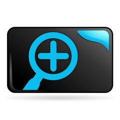 recherche plus sur bouton web rectangle bleu