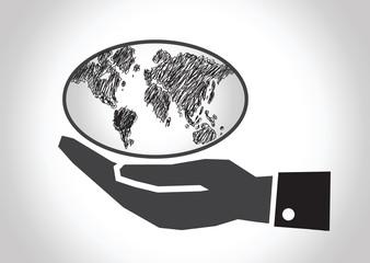 Hand holding world globe map