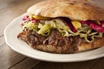 Doner Kebab - grilled meat shawarma sandwich