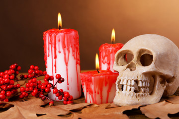 Bloody candles for Halloween holiday and decorative skull