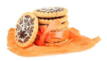 Tasty Halloween cookies, isolated on white
