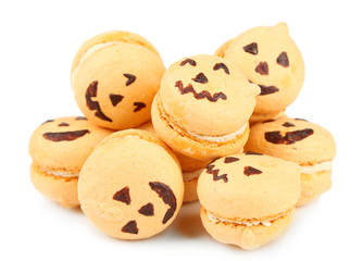 Tasty Halloween macaroons, isolated on white