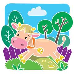 Children vector illustration of little cow or calf
