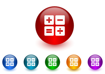 calculator colorful vector icons set
