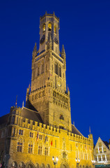 Belfry of Bruges at night