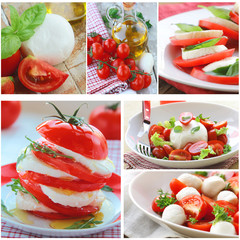 collage versions of traditional Italian caprese salad