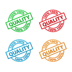 """100% QUALITY"" Badge (stamp label guarantee satisfaction)"