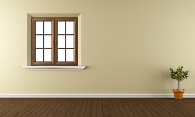 Empty room with closed window