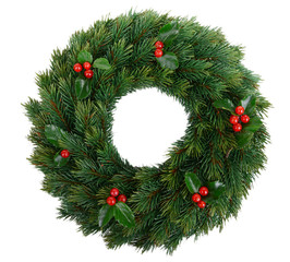 Christmas decorative wreath with leafs of mistletoe isolated