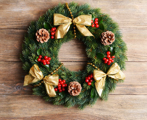 Christmas decorative wreath with leafs of mistletoe