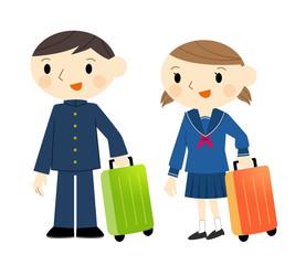 スーツケースの学生