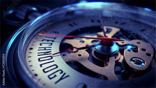 Technology on Pocket Watch Face.
