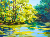 Fototapety Oil painting landscape - lake in the forest