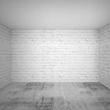 Bbrick walls and concrete floor. Square 3d background