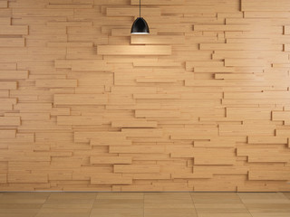 lamp and wood wall design and floor background, 3d redering