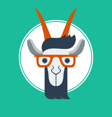 vector illustration with hipster goat