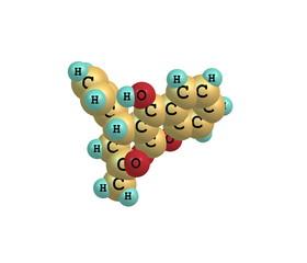 Warfarin molecule isolated on white