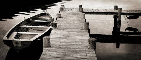 Black and White shot of Row Boat