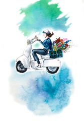 Girl on the scooter with flowers.