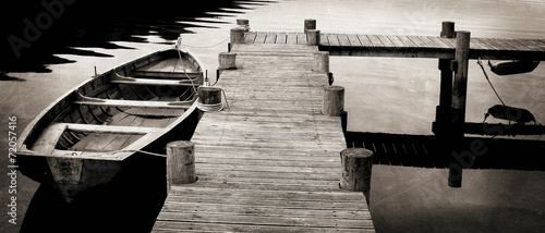 Black and White shot of Row Boat - 72057416