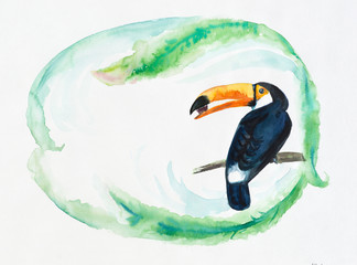 Toucan on a branch. Frame from palm leaves.