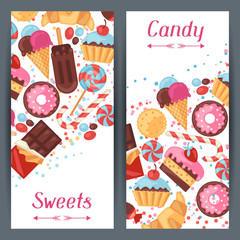 Vertical banners with colorful candy, sweets and cakes.