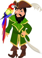 Pirate with a macaw parrot