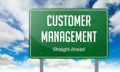 Customer Management on Green Highway Signpost.