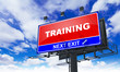 Training Inscription on Red Billboard.