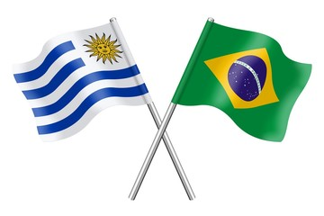 Flags: Uruguay and Brazil