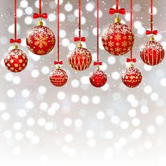 Christmas balls on bokeh background