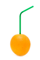 orange with a straw