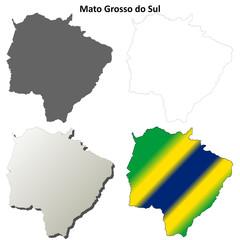Mato Grosso do Sul blank outline map set