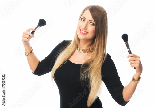 canvas print picture Frau mit Puderpinsel