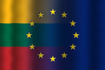 Waving Lithuania and European Union Flag