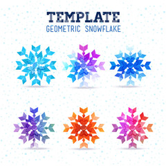 Template winter vector design with colored geometric snowflakes
