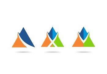 color finance tent loop abstract vector logo set