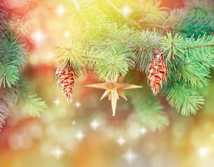 Pine cones on Christmas tree